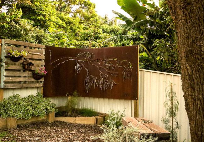 Ironbark metal design garden screen
