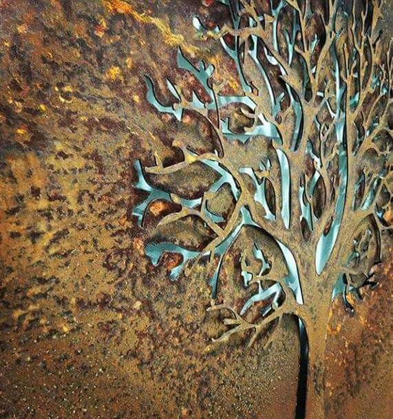 3D Autumn Tree Rusted by Ironbark Metal Design