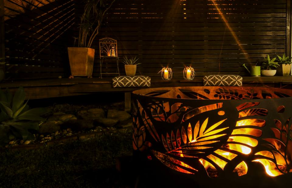 Squat Round Fire Pit in Floral by Ironbark Metal Design