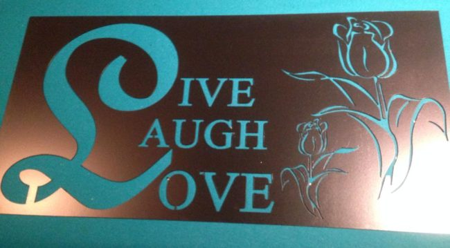 Live Laugh Love Sign in Copper Metallic by Ironbark Metal Design