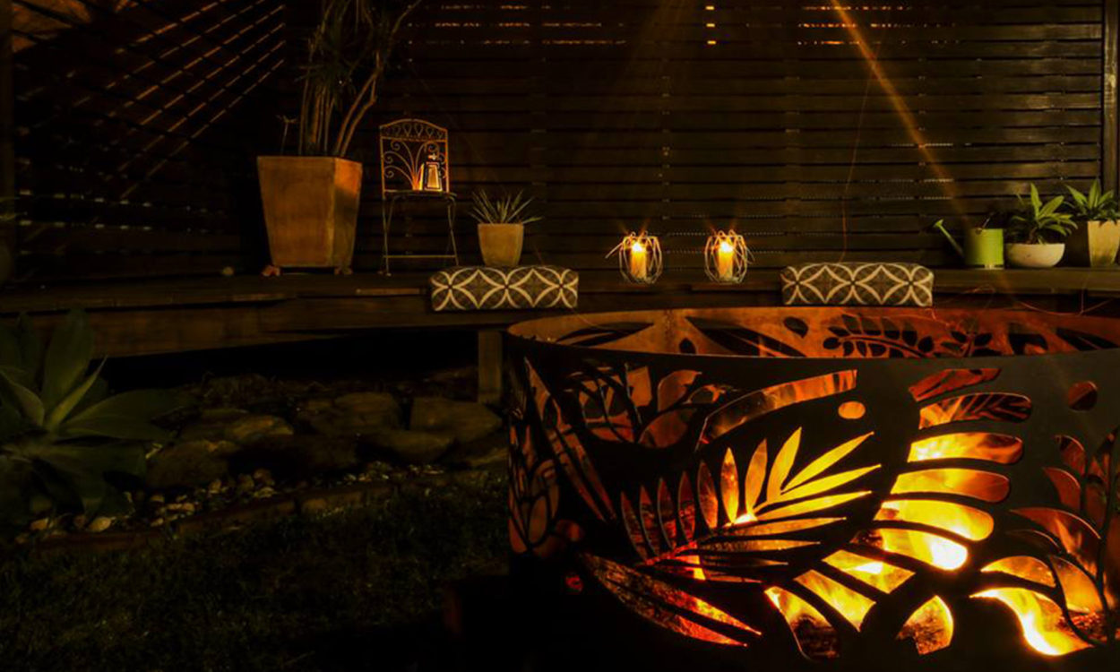 Squat Round Fire Pit in Floral Pattern by Ironbark Metal Design