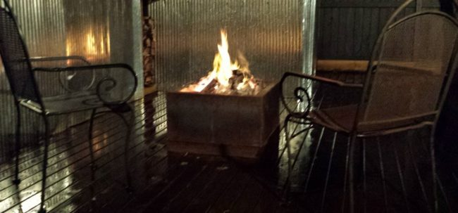 Cube Fire Pit with Table Top by Ironbark Metal Design