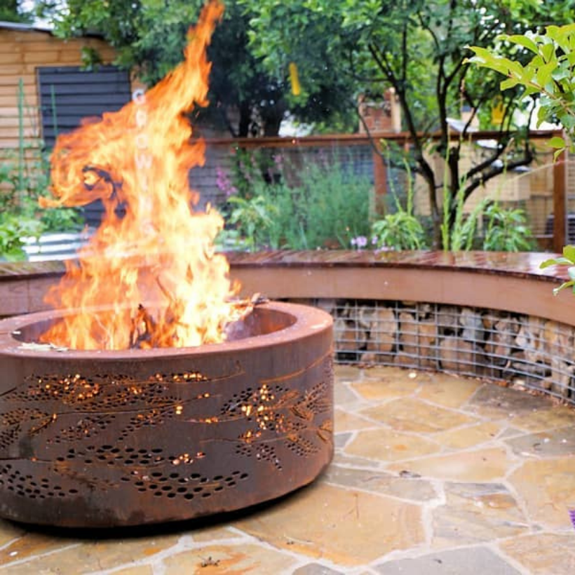 Double-Skin Fire Pit with Cootamundra Wattle Pattern in Rust