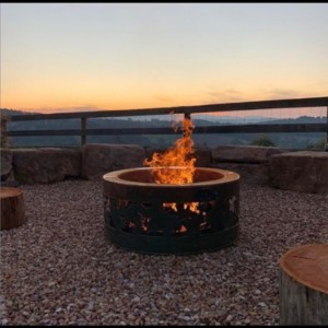 Large Double Skin Fire Pit with Autumn Leaf Positive Pattern in Steel
