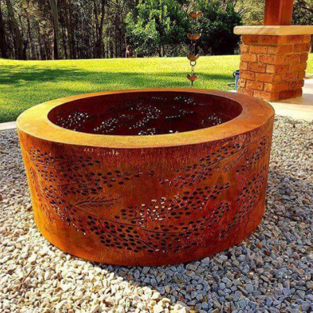 Large Double Skin Fire Pit with Cootamundra Wattle Pattern in Steel