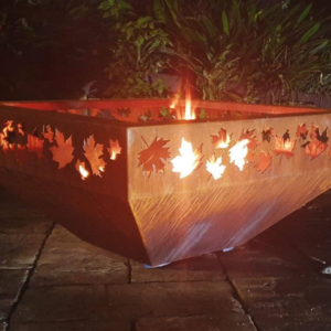 Large Prism Fire Pit with Autumn Leaf Pattern
