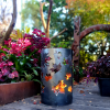 Small Round Fire Pit with Autumn Leaf Pattern