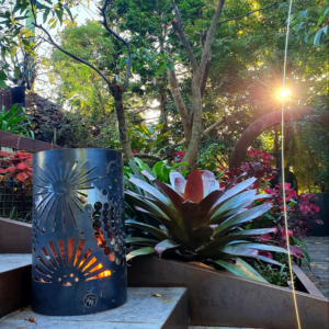Small Round Fire Pit with Fireworks Pattern