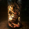 Small Round Fire Pit in Floral Pattern