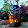 Small Round Fire Pit with Floral Pattern