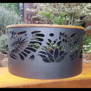 Squat Round Fire Pit with Floral Pattern, Charcoal Heat Proof Paint and Hardwood Lid