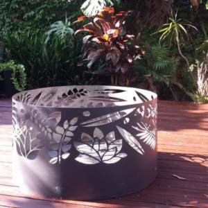 Squat Round Fire Pit with Floral Pattern, Charcoal Heat Proof Paint