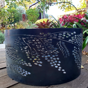Squat Round Fire Pit with Wattle Pattern, Charcoal Heat Proof Paint