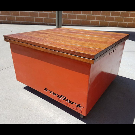 The Cube Fire Pit in Custom Heat Proof Paint with Hardwood Lid