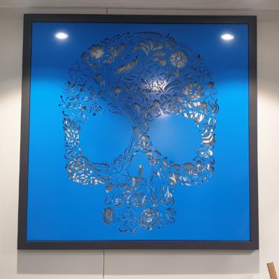 Candy Skull Wall Art in Blue Powder Coat