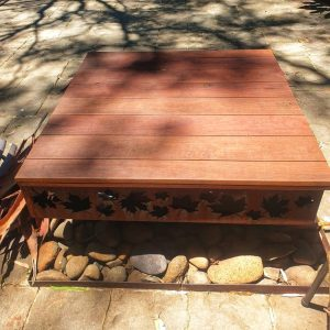 Prism Fire Pit with Hardwood Lid