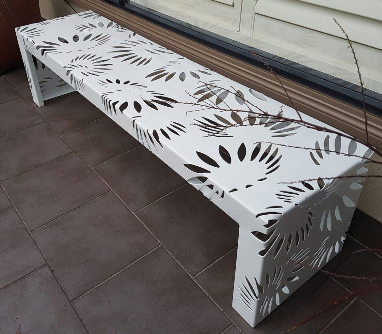 Metal Art bench Seat – powdercoated white