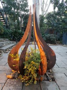 Teardrop Sculpture in Corten Steel by Ironbark Metal Design