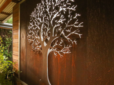 3D Autumn Tree Wall Art in Rusted Steel