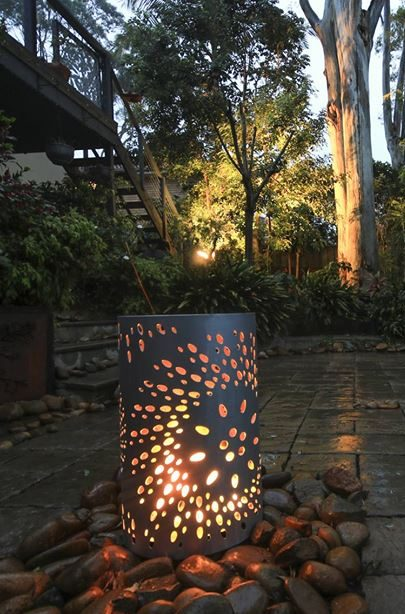 Small Round Fire Pit with Fanfare Pattern in Charcoal Heat Proof Paint