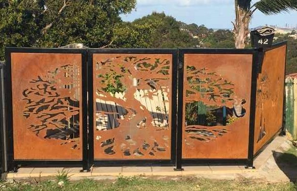 Fig Tree Fence Panels & Gate by Ironbark Metal Design