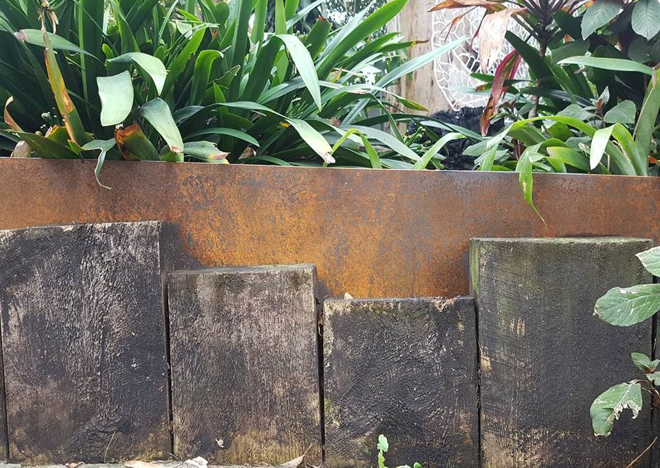 Garden Edging In Rusted Corten Steel By Ironbark Metal Design