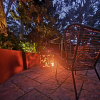 Medium Round Fire Pit with Autumn Leaf Positive Pattern