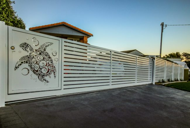 Automated Sliding Gate - Marine Turtle Pattern by Ironbark Metal Design