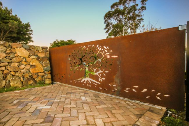 Automated Sliding Gate - Tree of Life Pattern by Ironbark Metal Design