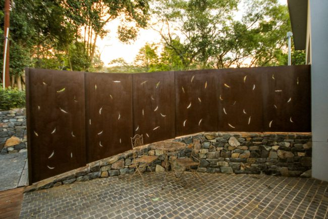 Fence - Gum Leaf Pattern by Ironbark Metal Design