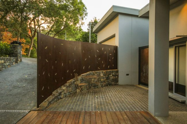 Corten Fence - Gum Leaf Pattern by Ironbark Metal Design