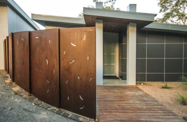 Fence - Gum Leaf Pattern by Ironbark Metal Design