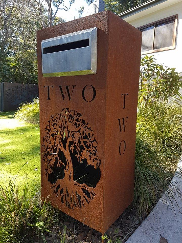 Figtree letter box iron bark metal design corten letterbox figtree pattern by ironbark metal design spiritdancerdesigns Image collections