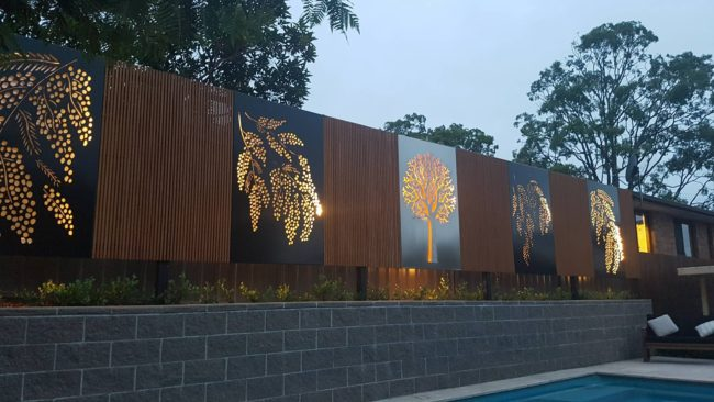Decorative Screens - Draping Wattle & 3D Tree by Ironbark Metal Design