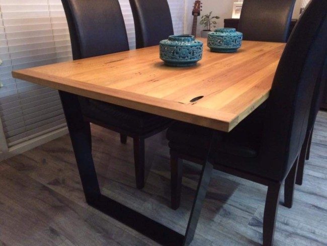 Hardwood Table Top with Angled Steel Legs by Ironbark Metal Design