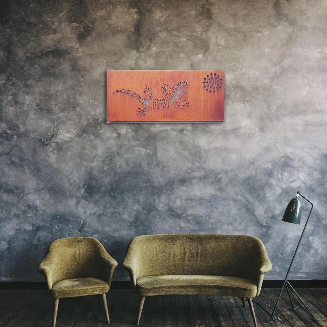 Gecko Wall Art Rusted