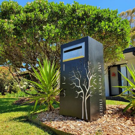 Autumn Tree Letterbox with Autumn Tree Pattern in Black Powder Coated Aluminium & Perspex Backing- Figtree