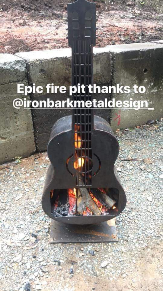 The Guitar Fire Pit by Ironabark Metal Design