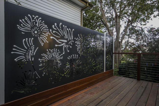 Firewheel Privacy Screen (Powder coated) by Ironbark Metal Design