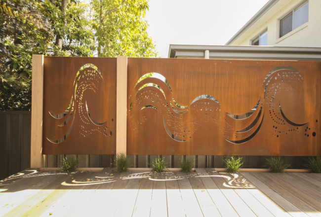Custom Coastal Wave Privacy Screen with customized Stingray Pattern adjustment by Ironbark Metal Design