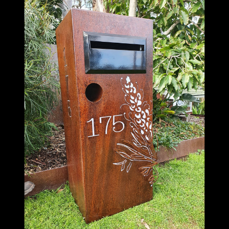 3D Grevillea Letterbox in Rusted & Sealed Corten Steel with Perspex Backing
