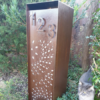 Compact Letterbox in Rusted Corten Steel with Fanfare Pattern & Perspex Backing- Figtree