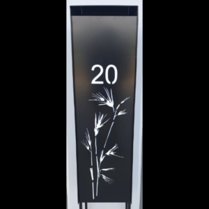 Compact Letterbox with Sedges Pattern in Black Powder Coated Aluminium with Perspex Backing