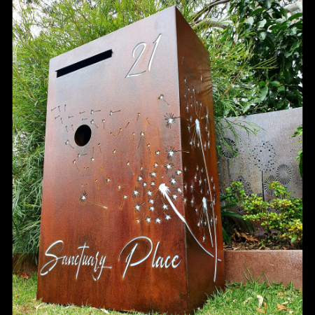 Wide Form Custom Pre-Rust & Sealed Letterbox with Dandelion Drift Pattern- Calamvale