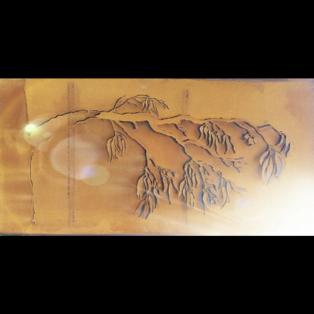 3D Ironbark Branch Wall Art in Rusted Steel