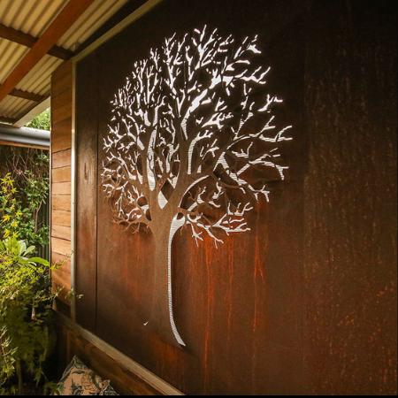 3D Tree Wall Art in Rusted Steel