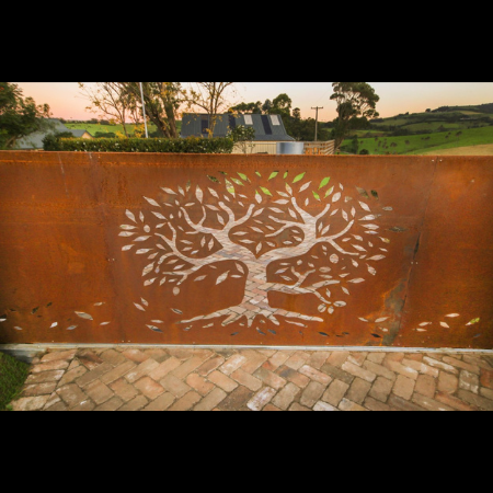 Automated Sliding Gate in Corten Steel with Tree of Life Pattern