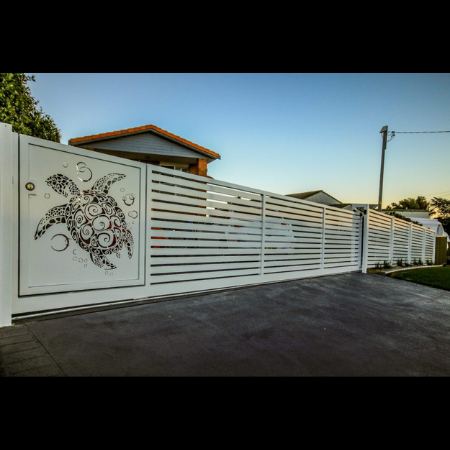 Automated Sliding Gate with Sea Turtle Pattern
