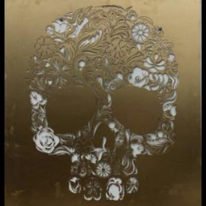 Candy Skull Wall Art in Gold Powder Coated Aluminium