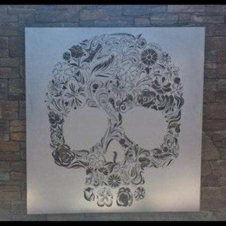 Candy Skull Wall Art in Silver Powder Coated Aluminium